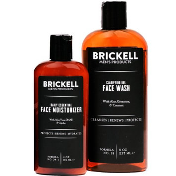 Brickell Men's Products Brickell Men's Daily Essential Face Care Routine I, Gel Facial Cleanser Wash & Face Moisturizer Lotion, 2 Ct