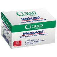 Curad Mediplast (25 Pads) Corn, Callus, and Wart Remover, 40% Salicylic Acid Pads for topical removal of corns, callus, or plantar warts
