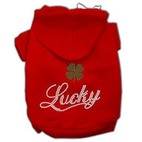 Mirage Pet Products Lucky Rhinestone Hoodies, Red, XX-Large/Size 18