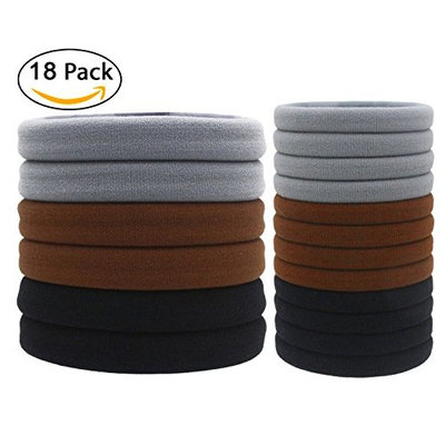 Fashion & Lifestyle (18 Pcs/Box) X Large Hair Ties Pony Ponytail Holders for Thick Hair - Stretchy Elastics Hair Bands Boutique Woven Ropes for Women and Girls, 2 Sizes