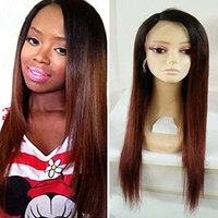 AllHairz Ombre Auburn Glueless Silky Straight Brazilian Virgin Human Hair Lace Front Wigs for Women 1b/30 Two Tone Color 150% Density