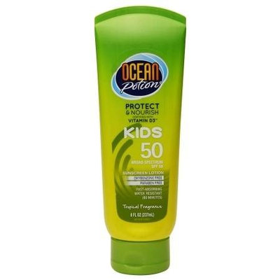 Ocean Potion Suncare Kids Sunscreen Lotion, SPF 50 Tropical Fragrance 8.0 fl oz(pack of 3)