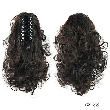 Ladies Wavy Curly Claw Clip in Ponytail Natural Color Heat Resistant Synthetic Hair Extensions Masquerade Party Women Hairpieces Drawstring Pony Tail