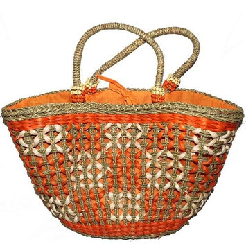 Bloomsbury Market Corn Leaf and Straw Orange Picnic Tote Bag