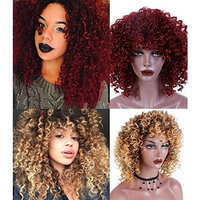 Bybrana Hair Short Curly Hair Brown Color Red Color Afro Kinky Curly Female Heat Resistant Synthetic Wigs