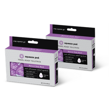 Squeeze Pod Single Use Natural Body Wash - 20 Single Use Pods Lilac - Squeeze Pod Travel Comfort and Health