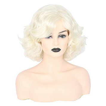 Topcosplay Women Hair Wigs Blonde Wig Short Curly Halloween Costume Cosplay Wig Deep Wave
