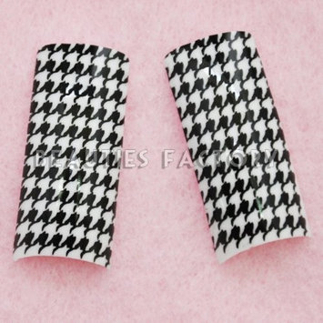 Airbrushed French Nail Tips (70pcs w/ tip box & glue) - HOUNDSTOOTH CHECK COD...