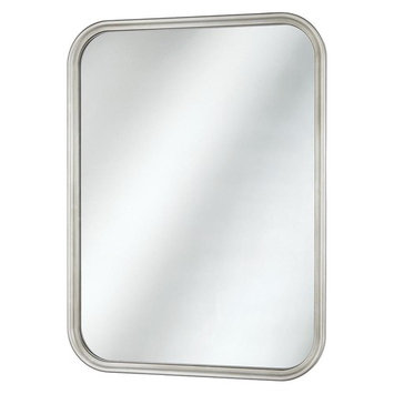 Home Decorators Collection 21 in. x 29 in. Framed Fog Free Wall Mirror in Soft Silver