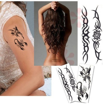 8-Pack 4.7 Inches Sexy Lower Back, Value Plus Temporary Tattoos, Tribal Tattoos Waterproof Removable