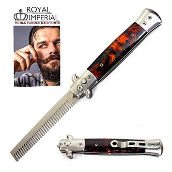 Royal Imperial Metal Switchblade Pocket Folding Flick Hair Comb For Beard, Mustache, Head TORTOISE SHELL FIRE Handle ~ INCLUDES Beard Fact Wallet Book ~ Nicer Than Butterfly Knife Trainer
