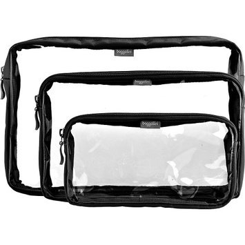 baggallini CTB662 Clear Trio Baggs - Black/Sand Cosmetic Travel Bags