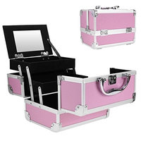 Imposes Makeup Train Case, Mini Portable Cosmetic Case with Mirror Jewelry Organizer Box Extendable Trays Aluminum Pink 8 x 6 x 6inch (US STOCK)