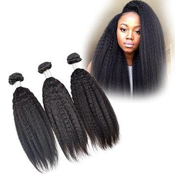 Dingli Hair Straight Coarse Yaki Brazilian Virgin Hair Weave Kinky Straight Bundles 100% Unprocessed Human Hair Extensions Natural Color