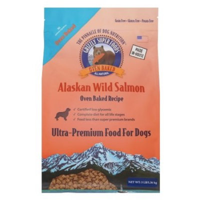 Grizzly Pet Products Grizzly Super Foods Oven-Baked Salmon Dry Dog Food, 3 Lb