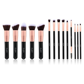 Makeup Brushes Powder Foundation Concealer Eyeliner Makeup Brush Set Cosmetics Tool (14 PCS Rose Gold) (14 PCS Rose Gold with Sponge and Cleaner)