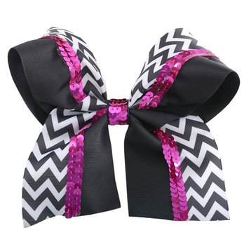 Reflectionz Girl Black White Chevron Pink Sequin Large Hair Barrette