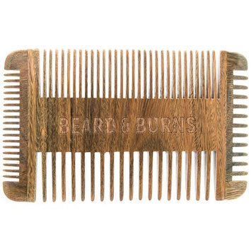 Four Sided Wooden Beard Comb by Beard and Burns - Made from All Natural and Scented Sandalwood - 4 Sides of Different Teeth Widths - Premium Quality Handmade Comb Best for Beard and Mustache