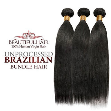Beautiful Hair 100% Virgin Remy Human Hair Unprocessed Brazilian Bundle Hair Weave Natural Straight 7A 3 Bundles, 4 Bundles, Natural Color (16