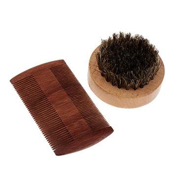 Homyl Men Beard Shaving Wood Comb and Brush Grooming Kit for Facial Hair Care Beard Mustache Shaping Styling