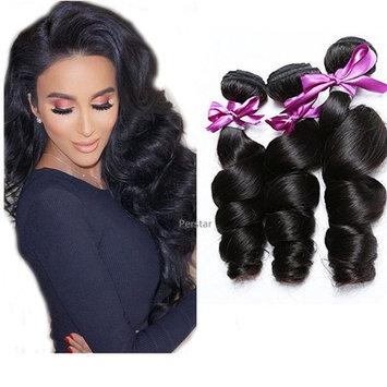 Perstar Loose Wave Bundles Unprocessed Human Hair Bundles Loose Wave Brazilian Virgin Hair Bundles Loose Wave 3 Bundles Remy Hair Extensions Natural Wave Black Color 18