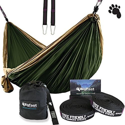 Bigfoot Outdoor Products ErgaLogik Camping Hammock (Brown/Dark Green)