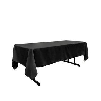 LA Linen TCpop60x108-BlackP24 Polyester Poplin Rectangular Tablecloth Black - 60 x 108 in.