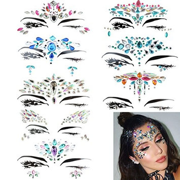 8 Sets Face Jewels Colorful Glitter Face Gems Sticker, Rhinestone,Bindi Crystals, Temporary Decorations for Eyes Face Forehead Body on Music Rave Festivals
