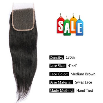 FAVE 12 inch Middle Part Straight 4x4 Lace Hair Closure 8A Malaysian Virgin Human Hair Natural Color