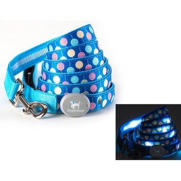 Dog-e-glow Light Up LED Dog Leash - Patented Light Up Durable Glowing Leash for Puppies and Dogs - by Dog e Glow (Lollipops, 6 Feet)