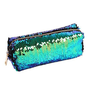 DIY Reversible Mermaid Sequin Makeup Pouch Cosmetics Bag Key Coin Purse Stationery Pencil Case Green&Black