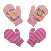 Paw Patrol Baby Toddler Girl Puppy Love & Striped Mittens, 2 Pack