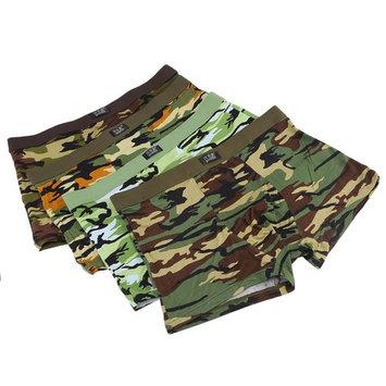 4pcs/Box Soft Breathable Men'S Underwear Military Camouflage Print Boxer Brief