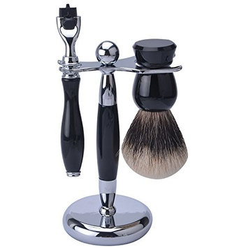 CSB 3 Piece Shaving Set With Mach 3 Heavy Weight Handle, 100% HMW Badger Brush, With Resin Metal Textured Chrome Classy Stand (Matching Black)