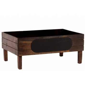 Wooden Crate With Black Stadium Label Large Stained Wood Finish