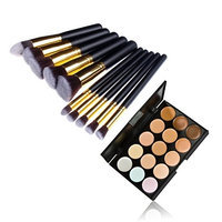 287 Shop 10Pcs Makeup Brush Kit Pince Maquiagem & 15 Color Concealer Palette 10014562