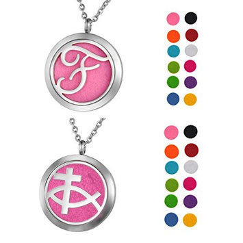 1 Set VALYRIA Essential Oil Diffuser Pendant Necklace Cross and Fish, Letter F Design Aromatherapy Jewelry- Perfume Locket