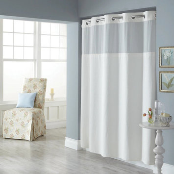 Dobby Pique Mystery Hookless White Fabric Shower Curtain
