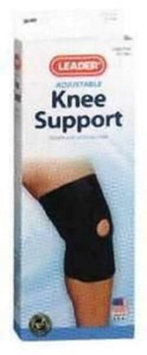 Cardinal Health Leader Neoprene Open Patella Knee Support, Black, Medium Part No. 4915393 Qty 1 Each