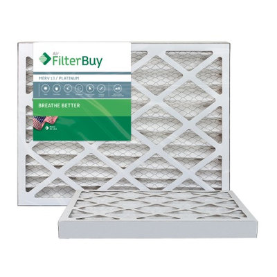 AFB Platinum MERV 13 10x25x2 Pleated AC Furnace Air Filter. Filters. 100% produced in the USA. (Pack of 2)
