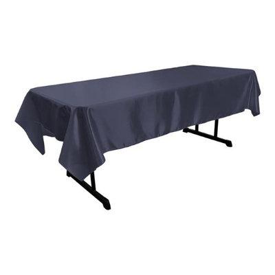 LA Linen TCbridal60X102-NavyB72 Bridal Satin Rectangular Tablecloth Navy - 60 x 102 in.
