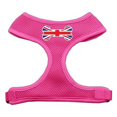Mirage Pet Products Bone Flag UK Screen Print Soft Mesh Dog Harnesses, Medium, Pink