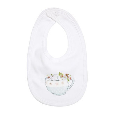 Greatlookz Fashion Greatlookz Drooling Baby Printed Cotton Bib with Snap, Teacup Bunny
