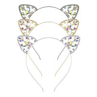 DcZeRong 3pcs Cat Ear Headband Rhinestone Hair Hoop Headpieces Cat Ear Headwear Hair Band Mix Color