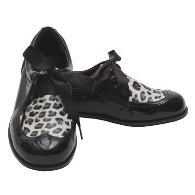 L'Amour Black Patent Leopard Ribbon Tie Shoe Toddler 7 - Little Girl 4