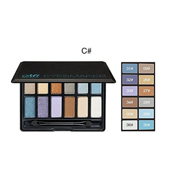 Menow E16003 Cosmetic Makeup Glamorous 12 colors Eye Shadow Palette with Brush (#A/#B#C) (#C)