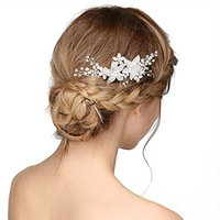 SWEETV Silver Crystal Wedding Hair Comb Rhinestone Side Comb - Handmade Flower Hair Accessories Head Pieces for Women