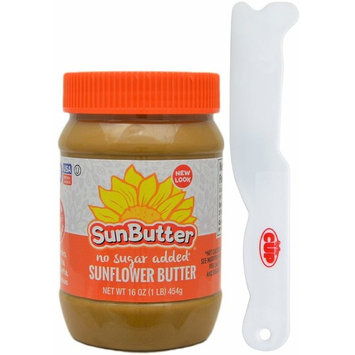 SunButter No Sugar Added Sunflower Seed Spread, 16 Ounce Plastic Jar - with Exclusive By The Cup Sandwich Spreader