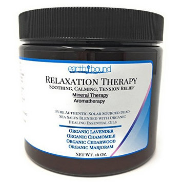 RELAXATION THERAPY / 100% Pure Authentic Dead Sea Spa Bath Salts / Soothing, Calming, Tension Relief / Organic Essential Oils of Lavender, Chamomile, Cedarwood and Marjoram - 16 oz