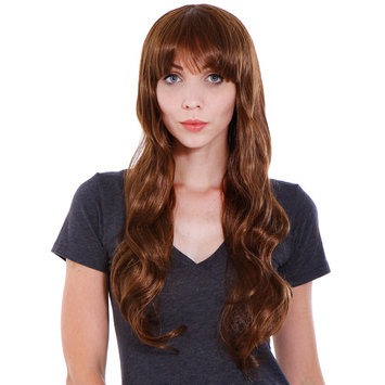 Simplicity Long Curly Full Wig Wavy Cosplay Halloween Party Wigs, Light Brown